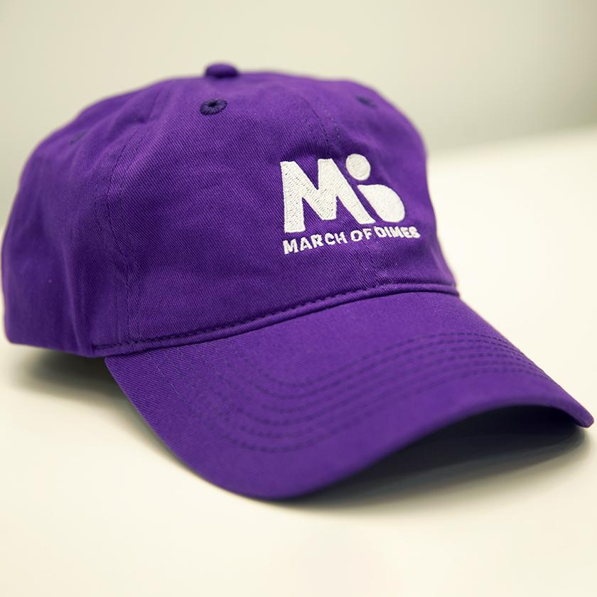 March of Dimes purple baseball hat